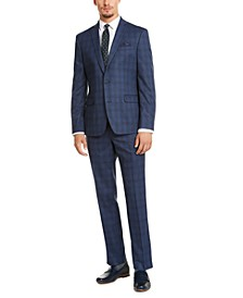 Men's Slim-Fit Stretch Blue Plaid Suit Separates, Created for Macy's