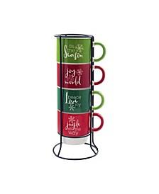 Jingle All the Way 5 Piece Mug Set w/ Metal Rack