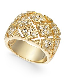Charter Club Gold-Tone Pavé Basketweave Ring, Created For Macy's