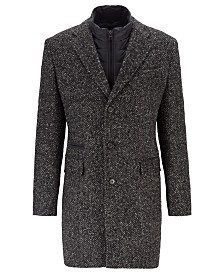 BOSS Men's Nido Slim-Fit Herringbone Coat With Detachable Inner Bib