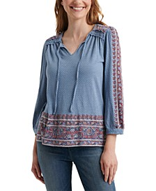 3/4-Sleeve Cotton Peasant Top