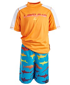 Toddler & Little Boys 2-Pc. Shark Rash Guard & Swim Shorts Set