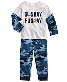 First Impressions Baby Boys Sunday Funday T-Shirt & Camo-Print Jogger Pants, Created for Macy's