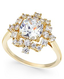 Gold-Tone Crystal Halo Ring, Created For Macy's