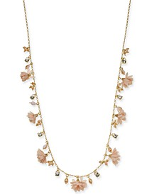 """INC Gold-Tone Flower & Bead Statement Necklace, 36"""" + 3"""" extender; Created For Macy's"""