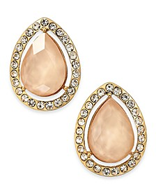 INC Gold-Tone Stone & Crystal Teadrop Stud Earrings, Created For Macy's