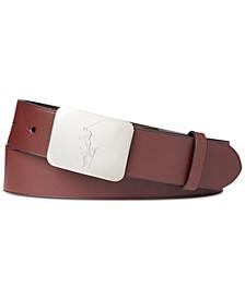 Men's Pony-Plaque Leather Belt
