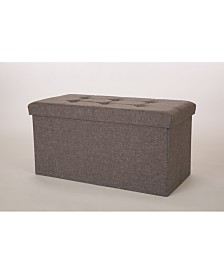 Glitzhome Cuboid Linen Foldable Storage Ottoman Bench with Padded Seat