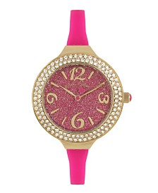 Betsey Johnson Pink Glitter Dial & Silicone Strap Watch 33.5mm