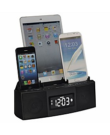 3 Port Smart Phone Charger with Speaker Phone Bluetooth, Alarm, Clock, FM Radio