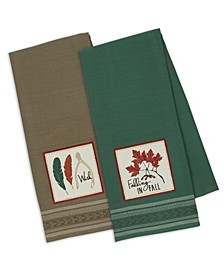 Falling in Fall Embroidered Dishtowel