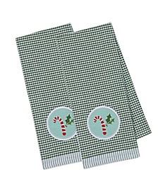 Candy Cane Embellished Dishtowel