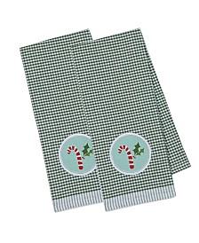 Design Imports Candy Cane Embellished Dishtowel