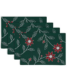 Design Imports Embroidered Poinsetta Placemat Set