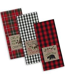 Design Imports Cabin Christmas Embroidered Dishtowel Set