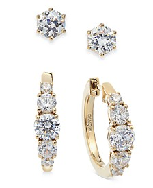 2-Pc. Set Cubic Zirconia Stud/Hoop Earrings, Created For Macy's