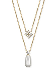 "Imitation Pearl & Cubic Zirconia Layered Pendant Necklace, 16"" + 1"" extender, Created For Macy's"