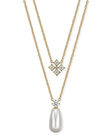 "Eliot Danori Imitation Pearl & Cubic Zirconia Layered Pendant Necklace, 16"" + 1"" extender, Created For Macy's"