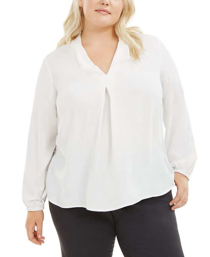 Bar III - Plus Size V-Neck Blouse
