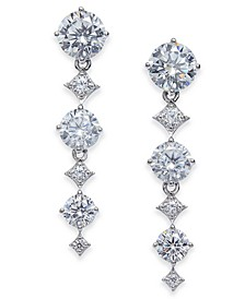 Silver-Tone Cubic Zirconia Linear Drop Earrings, Created For Macy's