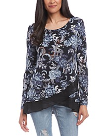 Printed Crossover Sheer-Hem Top