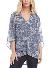 Printed Angled-Sleeve Top
