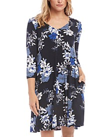 Floral Printed 3/4-Sleeve A-Line Dress