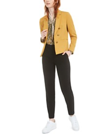 Bar III Faux Double-Breasted Jacket, Printed Bow Blouse & Straight-Leg Pants, Created for Macy's