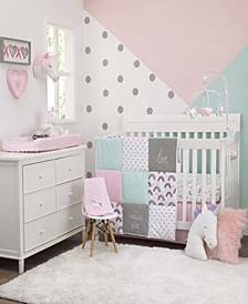 Unicorn Snuggles 4-Piece Crib Bedding Set