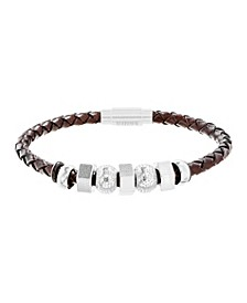 Men's Wavy Station Braided Brown Leather Bracelet