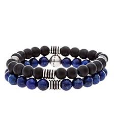 Men's Blue and Black Beaded Bracelet Set