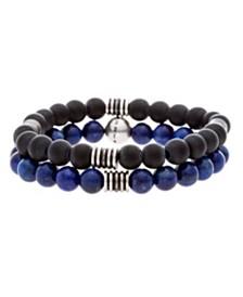 Steve Madden Men's Blue and Black Beaded Bracelet Set
