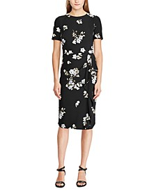 Floral-Print Ruffle-Trim Short-Sleeve Dress