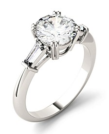 Moissanite Round and Baguette Engagement Ring (2-1/4 ct. tw.) in 14k White Gold