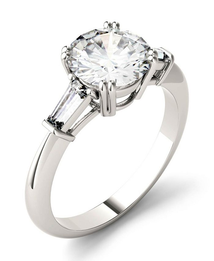 Charles & Colvard - Moissanite Round and Baguette Engagement Ring (2-1/4 ct. tw.) in 14k White Gold