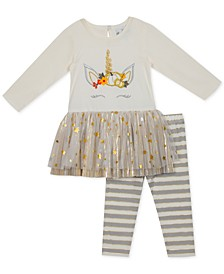 Little Girls Unicorn Tutu Top & Striped Leggings Set