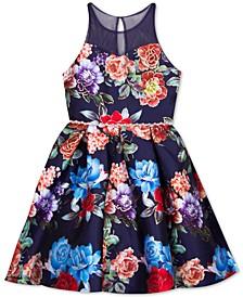 Big Girls Plus Size Floral-Print Illusion Dress