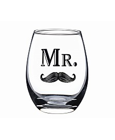 Lillian Rose Mr. Stemless Wine Glass with Mustache