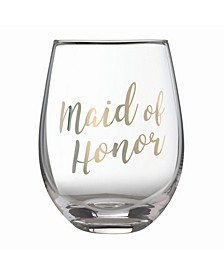 """Gold """"Maid of Honor"""" Stemless Wine Glass"""
