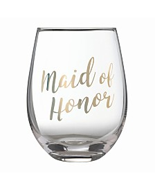 "Lillian Rose Gold ""Maid of Honor"" Stemless Wine Glass"