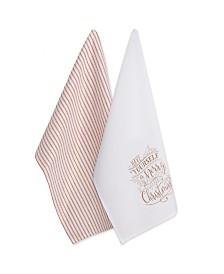Design Imports Assorted Merry Little Christmas Printed Dishtowel Set