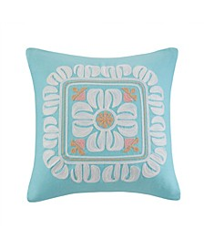 "Design Simona 20"" x 20"" Embroidered Cotton Square Decorative Pillow"
