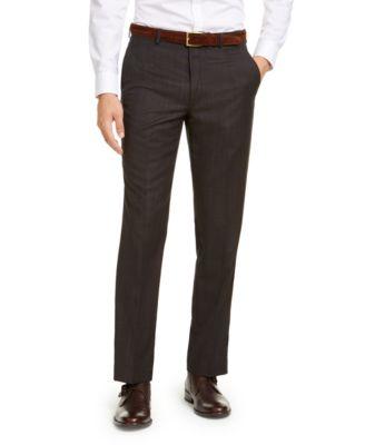 Men's Classic-Fit Airsoft Stretch Brown/Blue Birdseye Windowpane Suit Pants