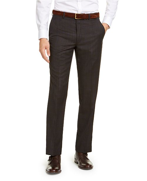 Michael Kors Men's Classic-Fit Airsoft Stretch Brown/Blue Birdseye Windowpane Suit Pants