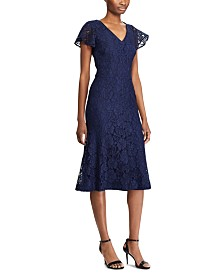 Lauren Ralph Lauren Short-Sleeve Scalloped Lace Dress