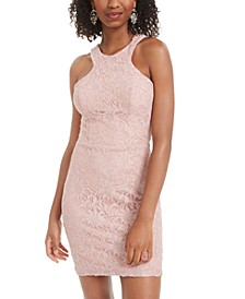 Juniors' Glitter Lace Bodycon Dress