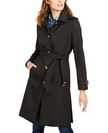 Calvin Klein Petite Hooded Belted Raincoat