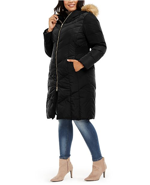 Cole Haan Plus Size Faux-Fur-Trim Hooded Down Puffer Coat