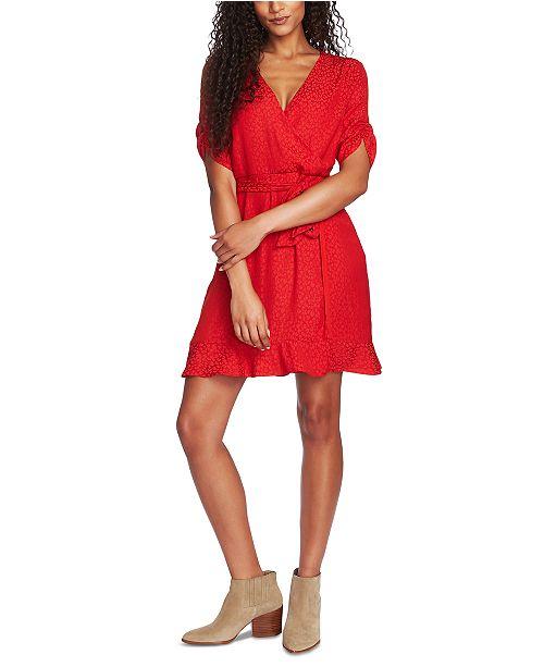 1.STATE Leopard-Print Flounce Mini Dress