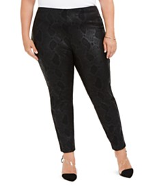 I.N.C. Plus Size Snake-Print Leggings, Created for Macy's